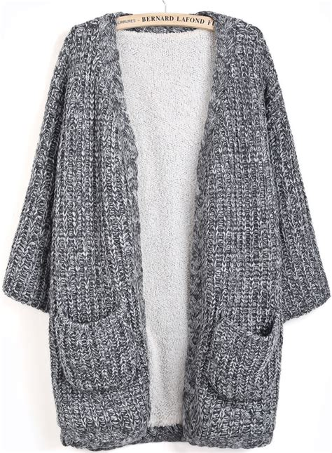 knit cardigan sweater grey sleeve pockets knit cardigan shein sheinside