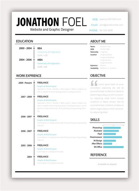 minimalist resume template free psd resume template wakaboom