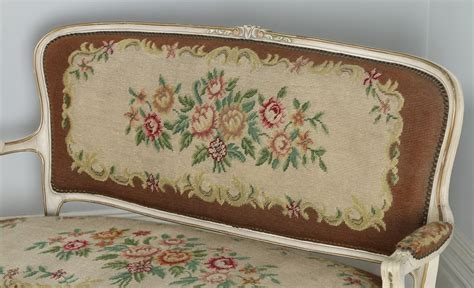 Antique French Louis XV Style Painted & Gilt Carved