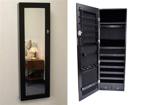 Black Jewelry Armoire Mirror by Black Mirrored Jewelry Cabinet Armoire Organizer Storage Wall Mounted Jewelry Box With Mirror