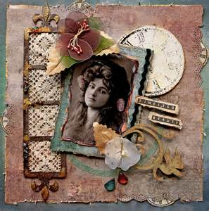 12x12 Album Timeless Beauty Premade Scrapbook Page Vintage Heritage Art