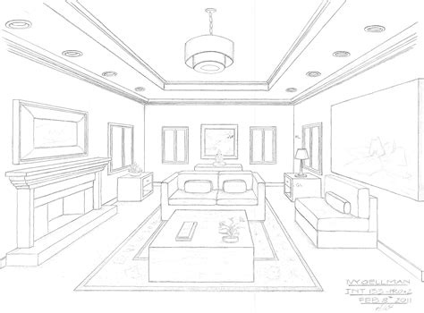 living room drawing interior design perspective drawing