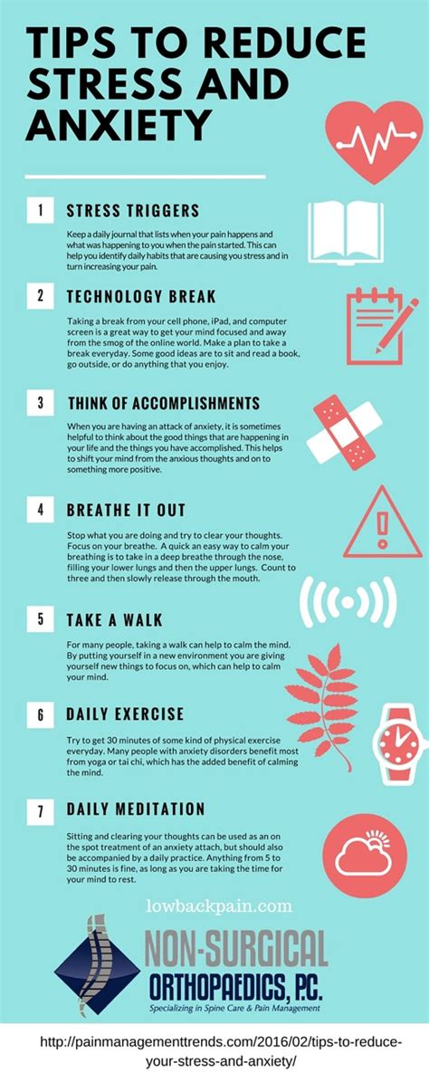 how to relieve anxiety tips to reduce anxiety and stress infographic