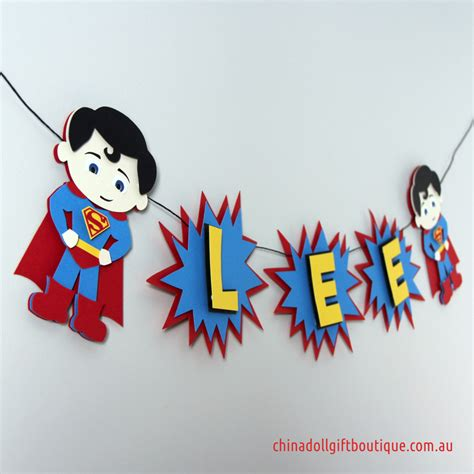 Bunting Flag Happy Birthday Banner Hbd Karakter Superman superman bunting personalised with name superheroes inspired by superman