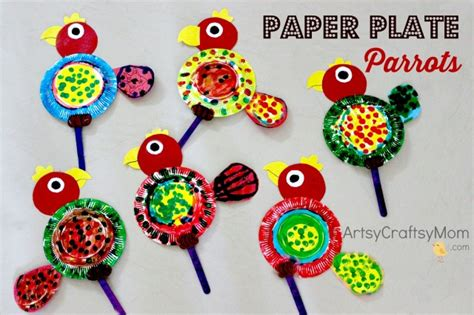 Wall Hanging Craft Ideas For Kids - paper plate parrot craft artsy craftsy mom