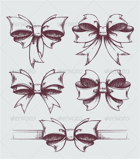 hand drawn gift bows graphicriver