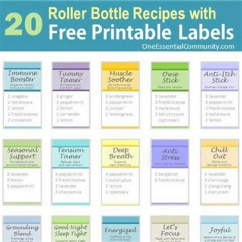 printable labels for essential oils roller bottle blend recipes with free printable labels