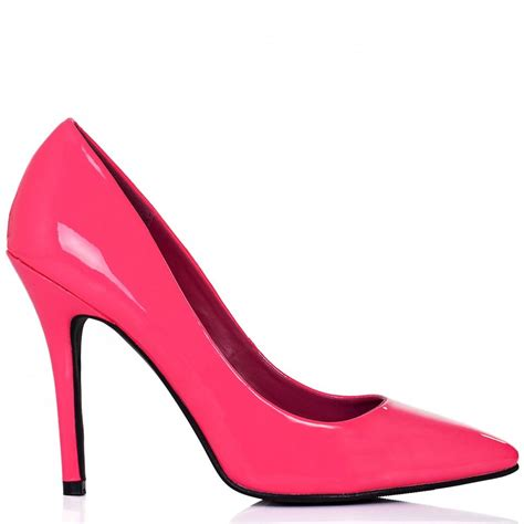 buy moku stiletto heel pointed toe court shoes pink neon