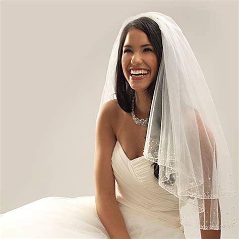 veil bed swarovski crystal beaded edge elbow length 2 layer bridal