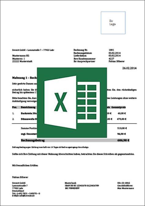 Mahnung Muster Excel Mahnungsvorlage F 252 R Word Excel Mit Anleitung Kostenlos