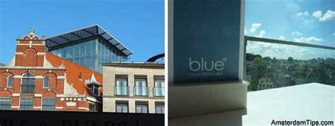 Drinks Table blue amsterdam cafe with panorama at kalvertoren