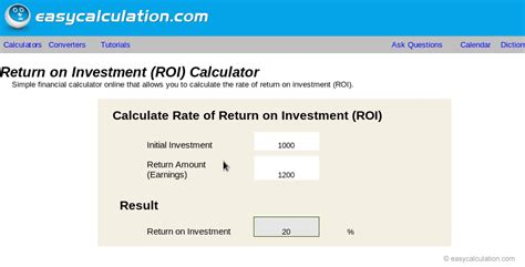 simple roi template excel excel roi calculator calculator spreadsheet free