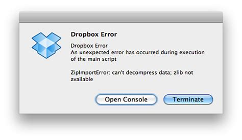 dropbox error why is dropbox erring on startup ask different