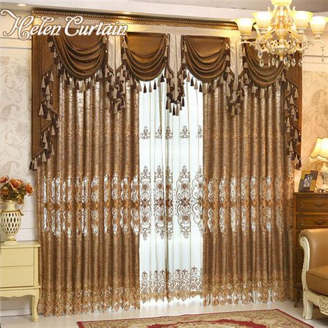 Gold Living Room Curtains Decorating Helen Curtain Luxury Gold Embroidered Curtains For Living Room European Style Valance Curtains