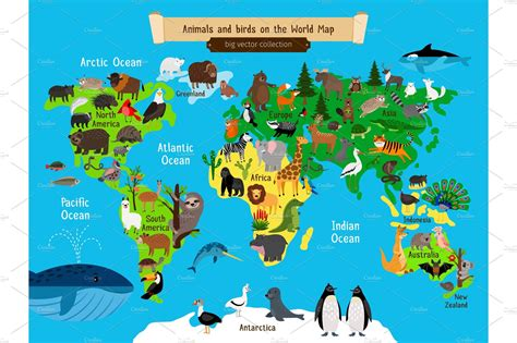 world map animals europe  asia south  north