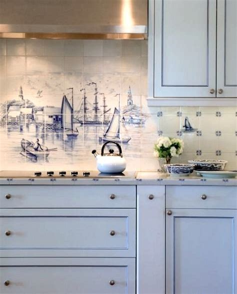 kitchen backsplash mural coastal kitchen backsplash ideas with tiles from murals to nautical blue tiles