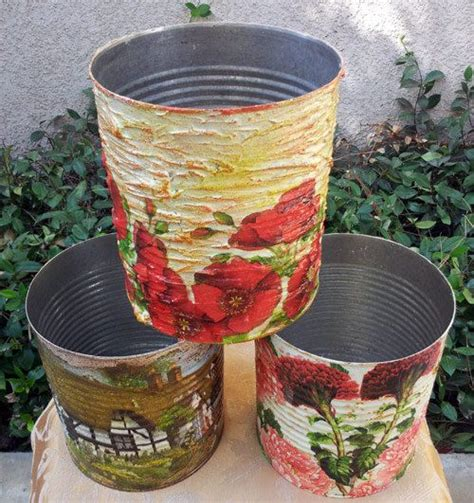 Decoupage Tin - recycled decoupage tin can set of 3