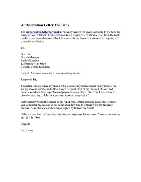 authorization letter bank debit account authorization letter for bank