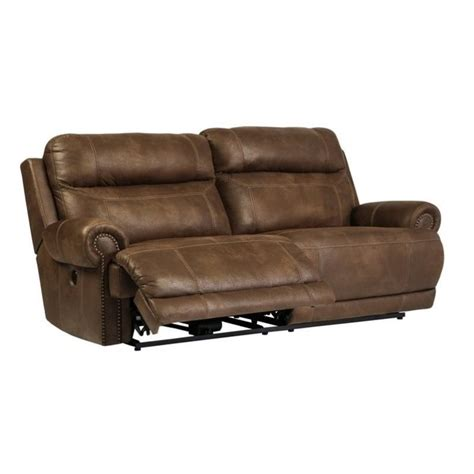 austere 2 seat faux leather power reclining sofa in