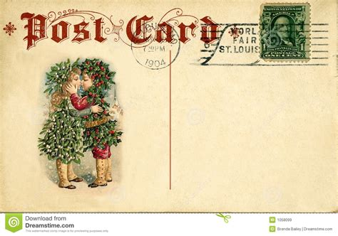 merry l post antique postcard stock image image of used