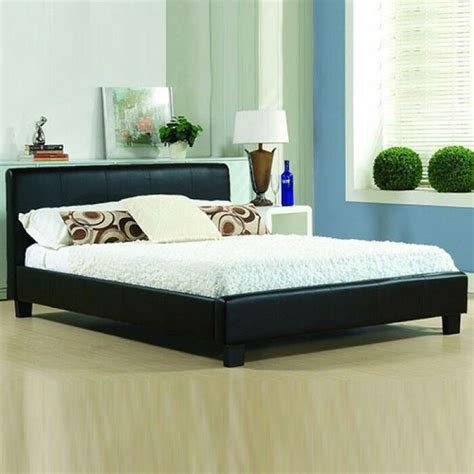 cheap bed frame king size leather beds with memory foam mattress deal ebay