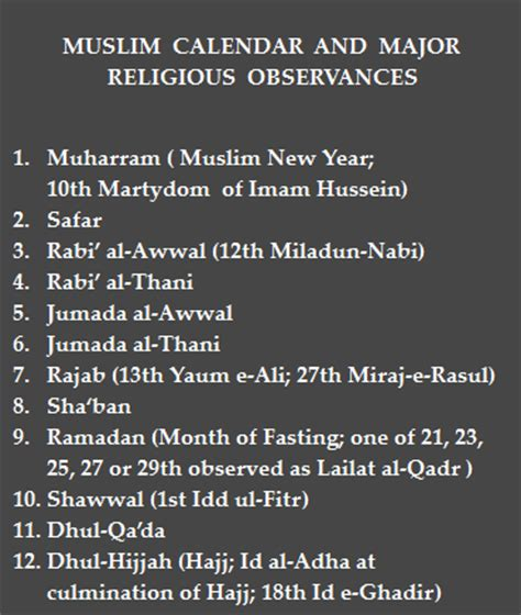 the muslim calendar and major muslim festivals ismailimail