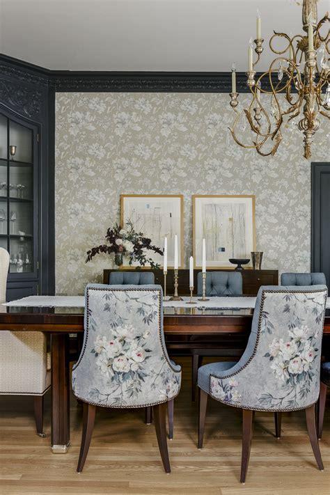 craftsman dining room  modern art floral wallpaper
