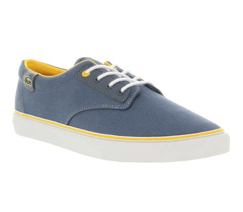 mens lacoste barbados blue yellow trainers shoes ebay
