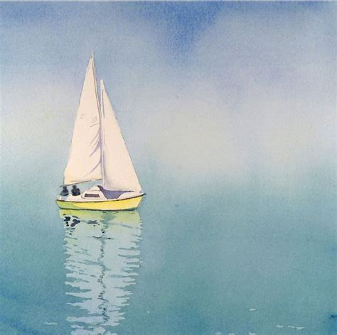 nautical painting blue and yellow sail boat art watercolor painting print