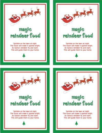printable reindeer labels printable reindeer food poem christmas pinterest