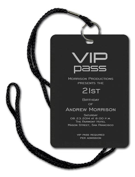 Vip Pass Corporate Invitations By Invitation Consultants Cb Sbf Dld B Create Vip Passes Templates