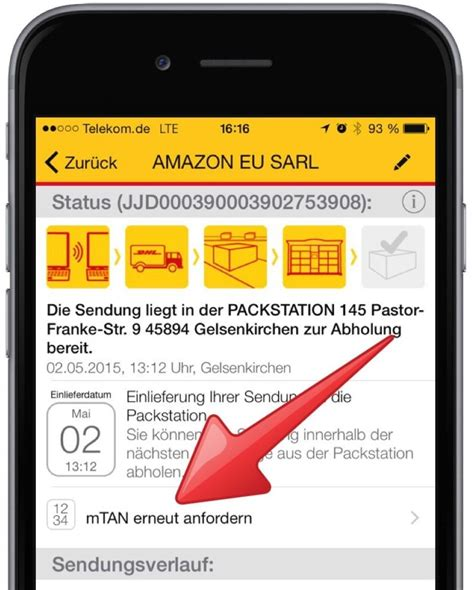 Paket For Androidios packstation mtan neu anfordern mit smartphone app mobil