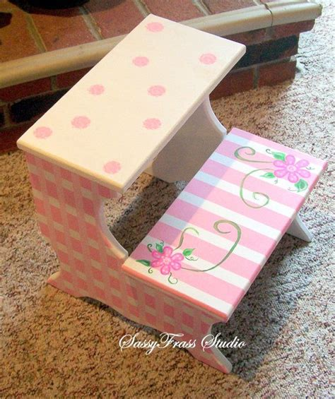 pink wooden step stool children s painted pink and white step stool