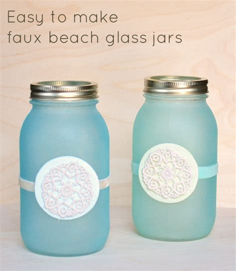 Faux Beach Glass Mason Jar Lanterns Mod Podge Rocks