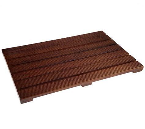 pollenex solid teak wood bath shower mat qvc