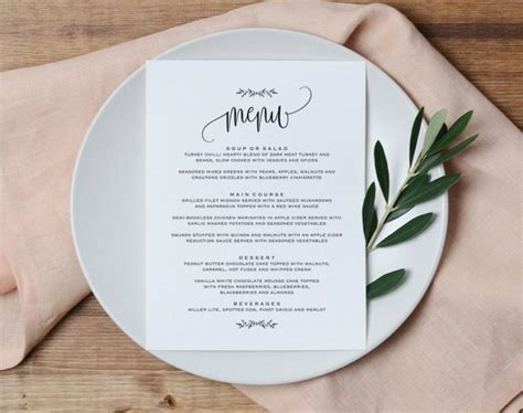 Table Menu Template wedding menu printable wedding menu template rustic