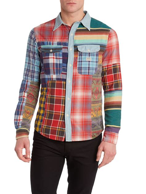 Patchwork Shirt - denim supply ralph sleeve check placket