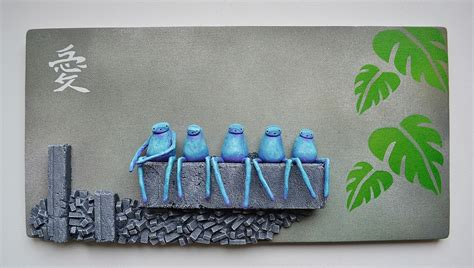 Brick Blue Sculpture by Wall Hanging Sculpture Selection Mixed Media Paintings
