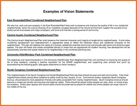Personal Vision Statement Template
