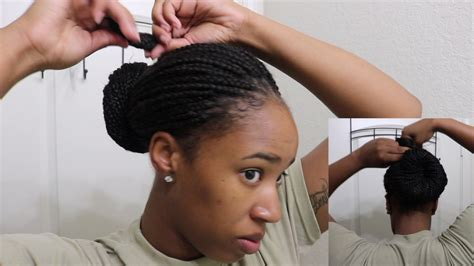 army cornrow styles how to military bun with box braids youtube