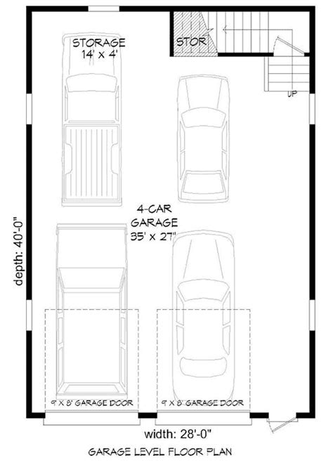 tandem garage plans 4 car tandem garage with man cave above 68466vr cad