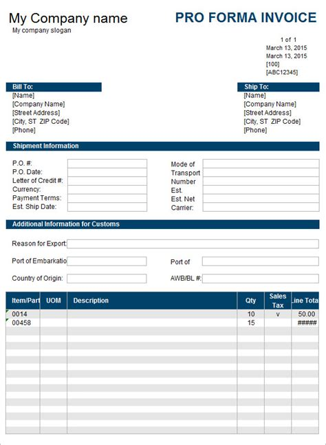 7 proforma invoice templates free documents in