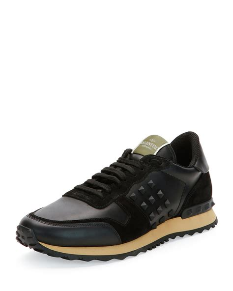 black sneakers mens valentino rockrunner leather and suede low top sneakers in