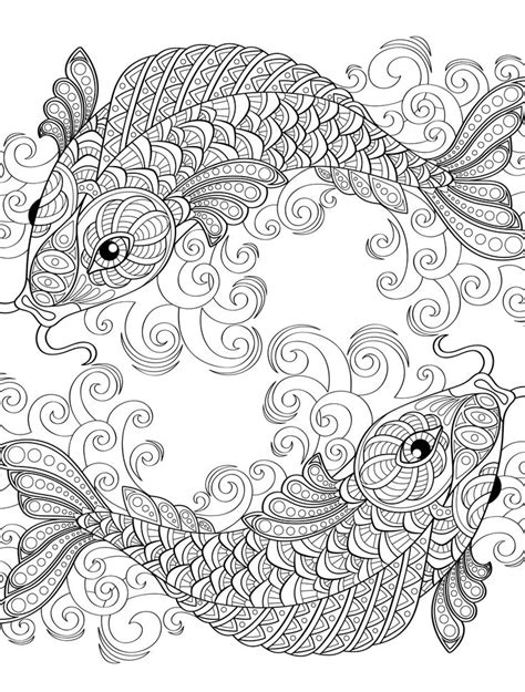 coloring page adult yin and yang pieces symbol fish coloring page for adults