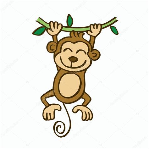 swinging monkey cartoon swinging monkey cartoon for kids stock vector