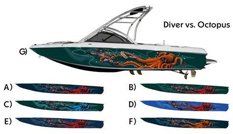 vinyl wrap bottom of boat octopus and diver battle custom boat wrap customized to