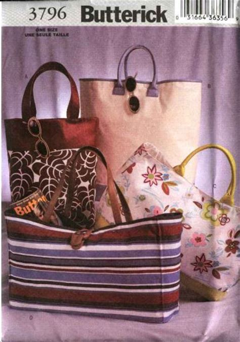 sewing pattern tote bag lined butterick sewing pattern 3796 four fashion lined tote bags