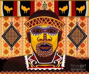Men Duvet Cover African Tribesman 2 Digital Art By Bedros Awak
