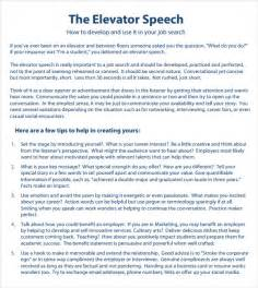 sample elevator speech 7 documents in pdf