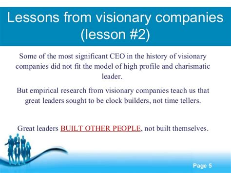 5 Lessons Learned Companies by Lessons Learned From Visionary Companies